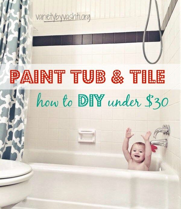 How i painted our bath tub tile floor diy under 30 - Fliesenfarbe bodenfliesen ...
