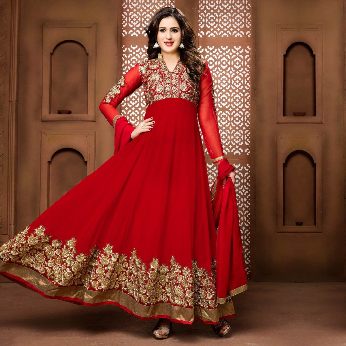 Buy Red Wedding Wear Anarkali Suit for womens online India, Best ...