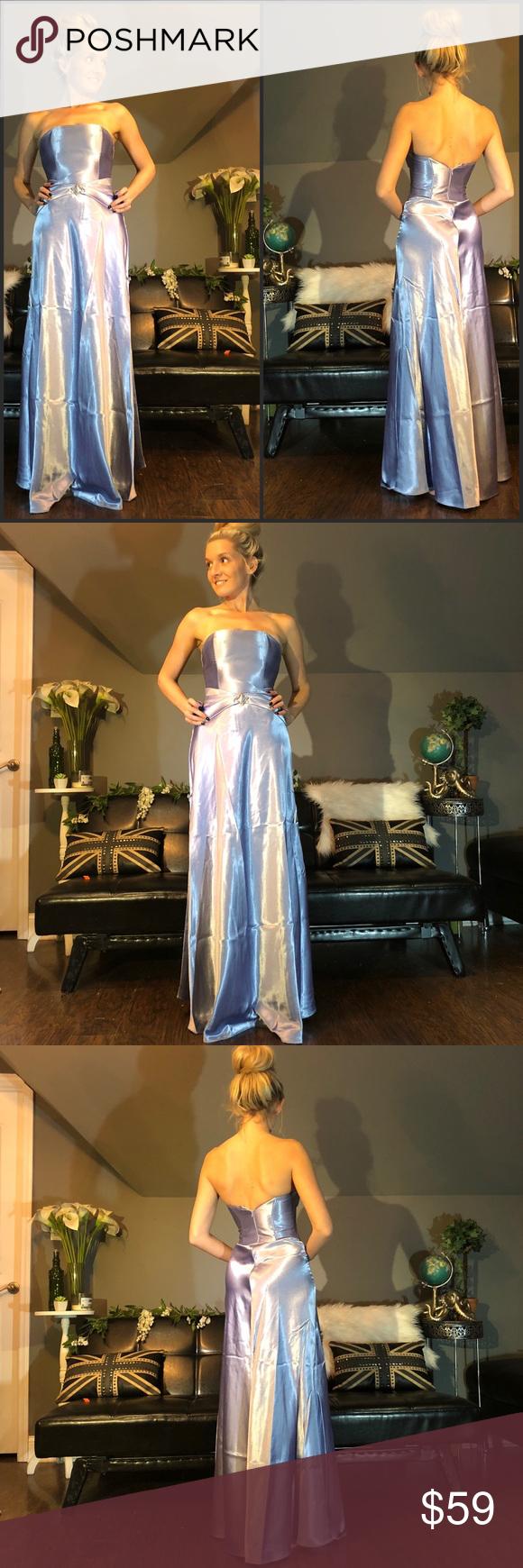 Mcclintock purple strapless stain long prom dress long prom