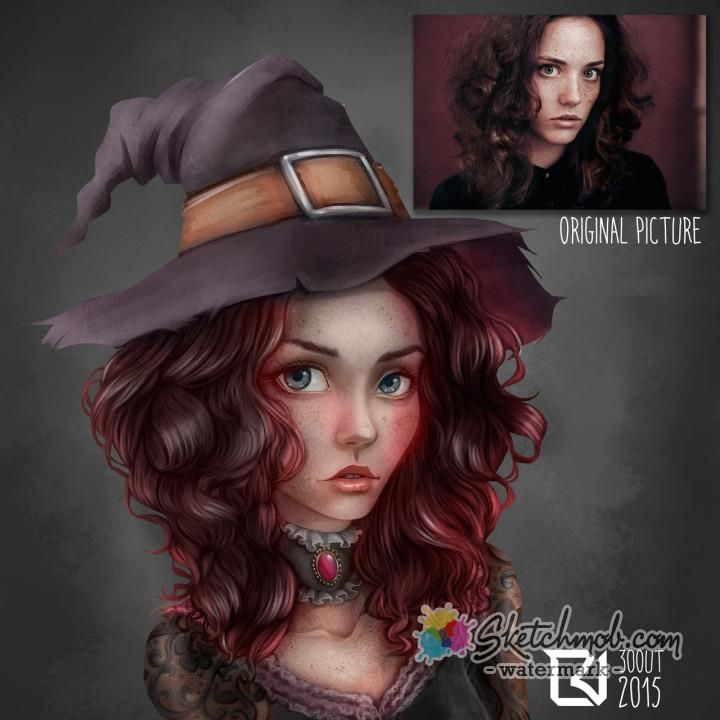 Creative Semi Realistic Portrait Witch Pictures Realistic Cartoons Cartoon Styles