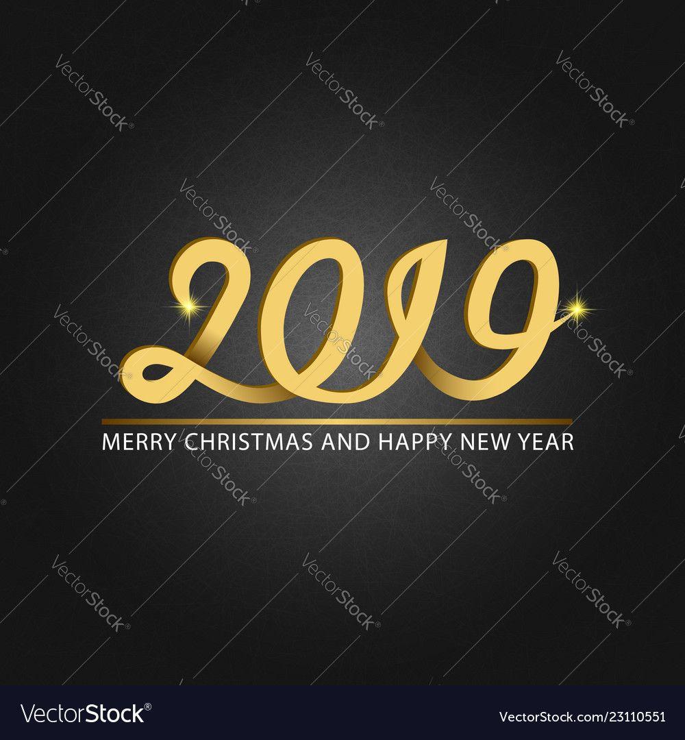 Happy new year and merry christmas monogram 2019 Vector