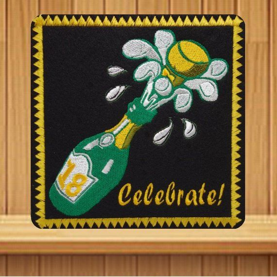 18th Birthday, Gold Champagne Embroidered, Card