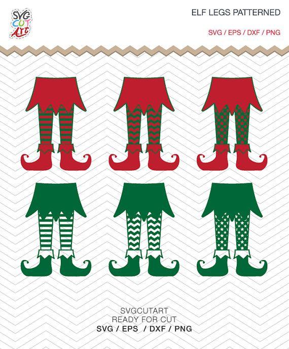 Elf Legs Patterned Christmas Frame DXF SVG EPS png by SvgCutArt