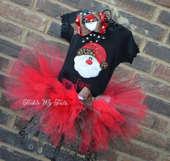 I Love Santa Christmas Tutu Outfit-Christmas Pageant Outfit-My First Christmas Outfit-Perfect for Pictures with Santa *Bow NOT Included*