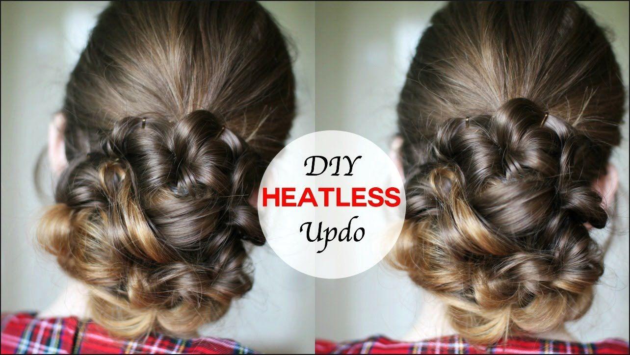 Easy heatless curly upstyle tutorial heatless hairstyles
