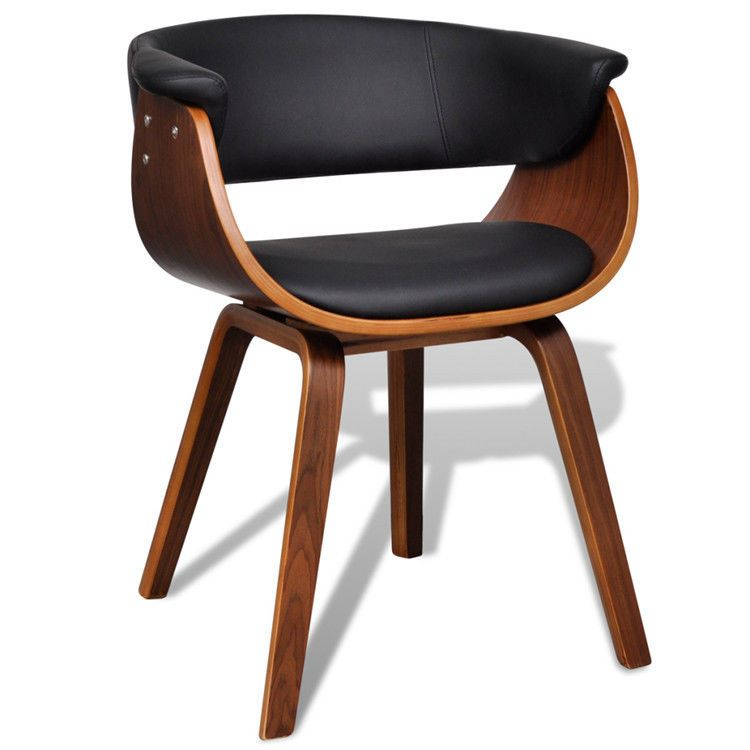 Retro Dining Room Chairs Brown Wooden Armchairs Vintage Armrest Leather Seat