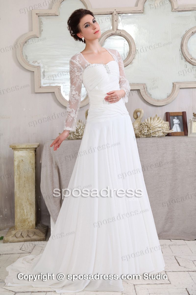 Summer aline sweetheart longsleeved lacechiffon beach wedding