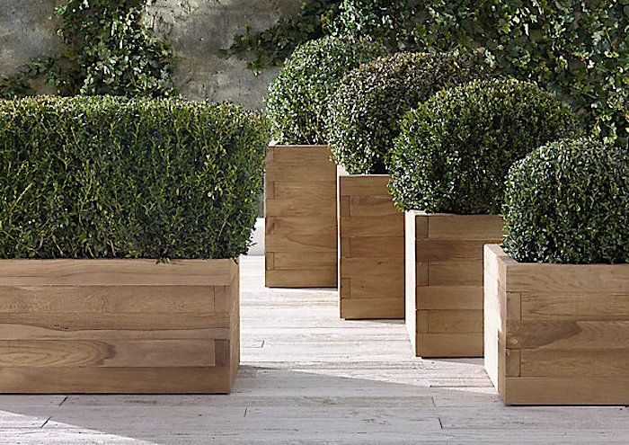 Reclaimed French Oak Staccato Square Planters, Gardenista · Wooden Garden  ...