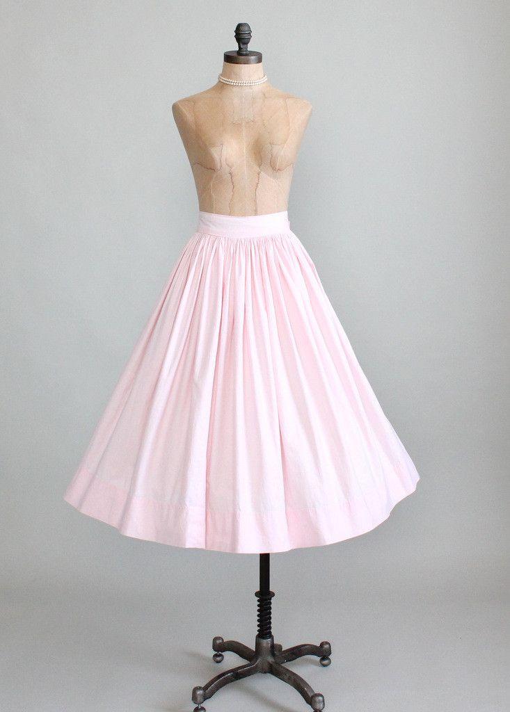 Vintage 1950s Palest Pink Full Skirt