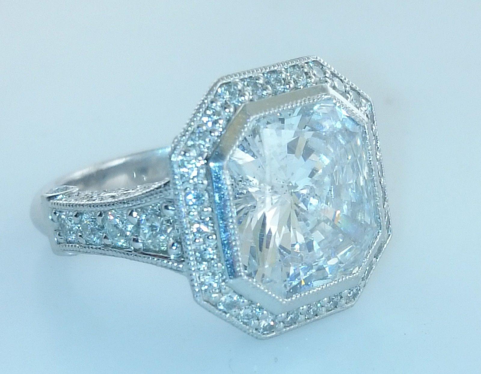 Contemporary Radiant 11 Carat Diamond Ring Set In Platinum 180k Value Radiant Diamond Rings Diamond Ring Radiant Diamond