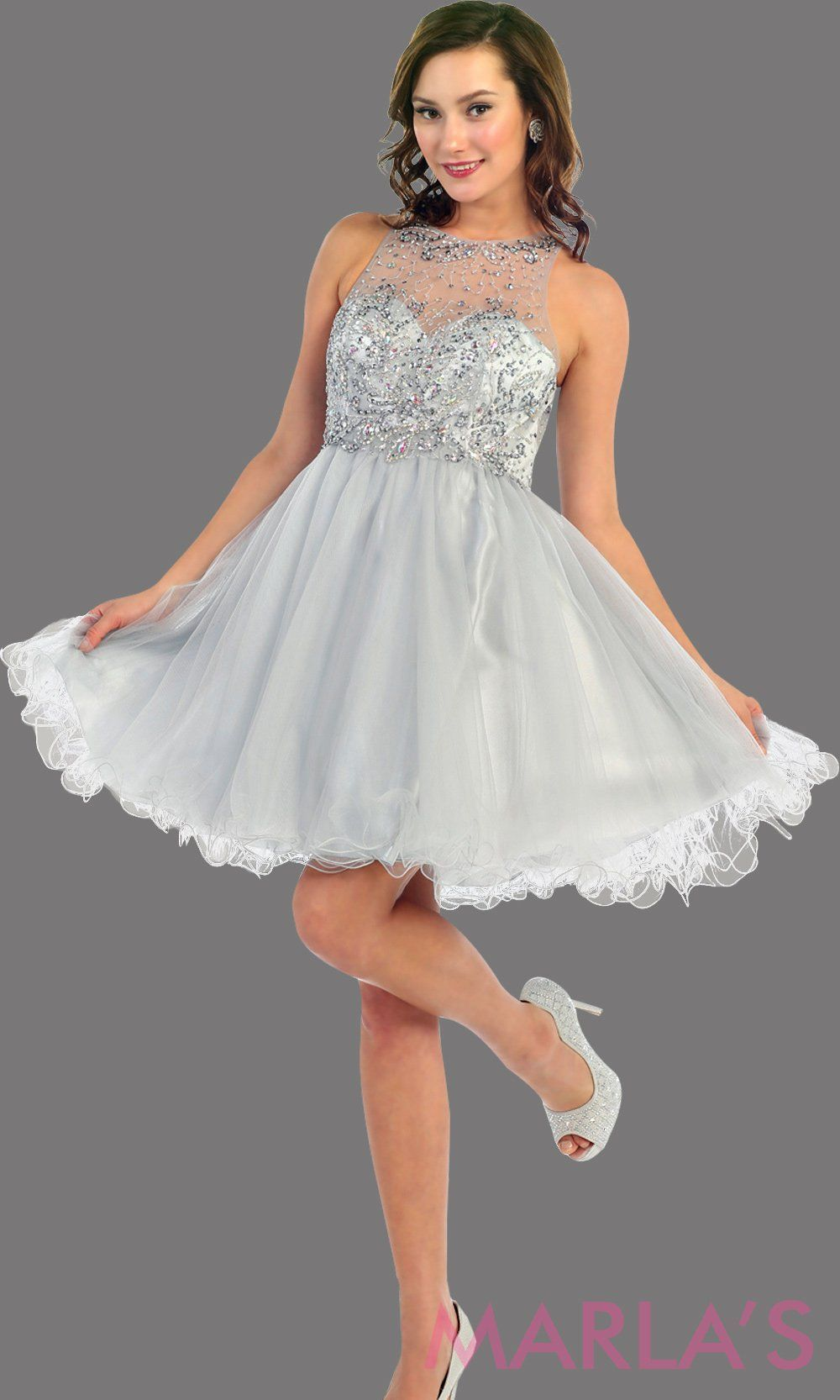 023fe9997449 Silver Short Beaded Top with Flowy Skirt #graduationdress #graddress  #promdress #bridaldress #showerdress