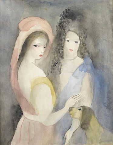 Two Ladies And A Dog Likely Marie Laurencin And Natalie Clifford