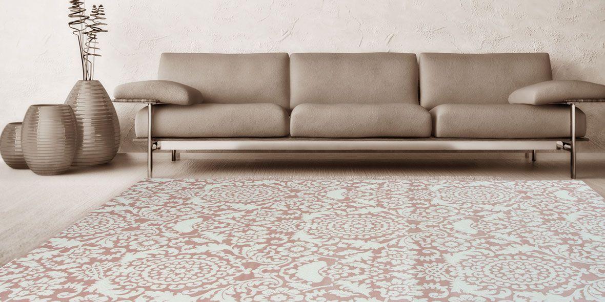 Gut Wohnzimmer Sofa Teppich Carpet Orient Bordüren Modern Style Ornament  Floral Pastel Rose Beige Braun Hell