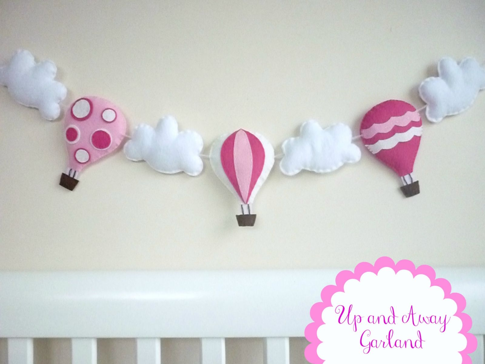 Hot Air Balloon Garland - Bunting - Banner - Bubblegum Pink, Snow White and Hot Pink - Moveable