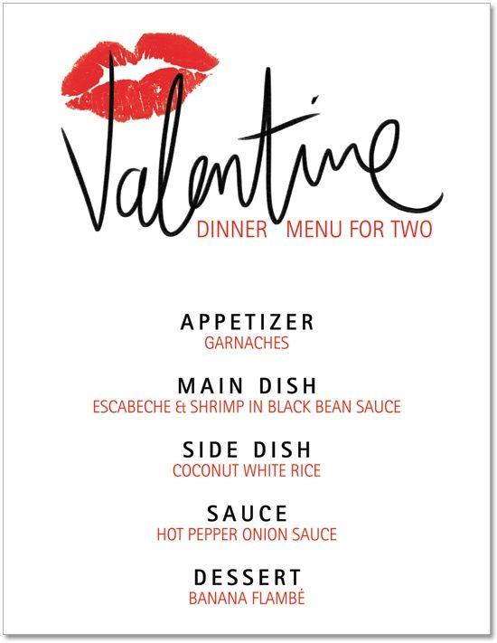 Blank Valentine Menu  Printable ValentineS Day Dinner Menu