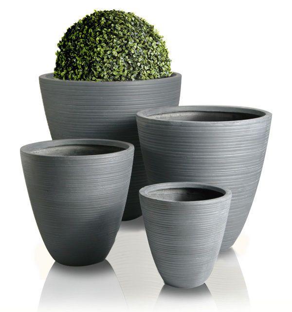 Hemon Grey Round Outdoor Planter Garden Patio Flower Plant Pot Pots Fibrecotta