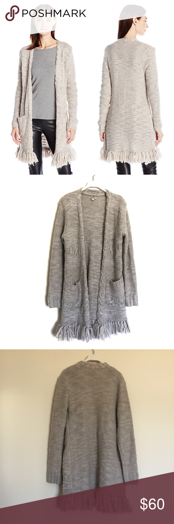 Lucky Brand cream fringe sweater cardigan small Great condition ...