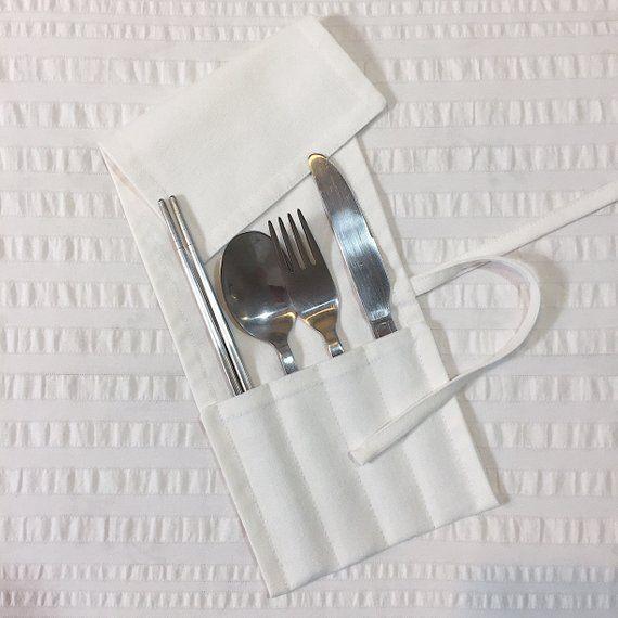 Zero Waste Cutlery Wrap White Travel Utensil Wrap