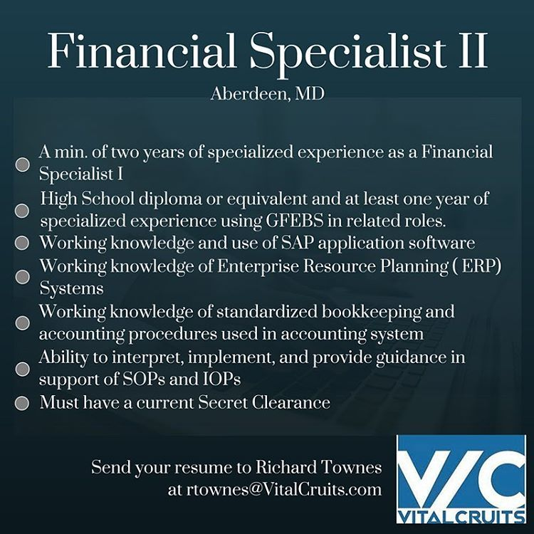 Financial Specialist opportunity in Aberdeen, MD. Email