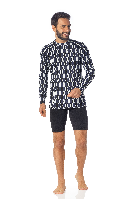 474d771eeb Look MANATEX LAB Conjunto Surfwear Masculino. Camiseta manga longa  produzida no Jacquard 03 da Linha