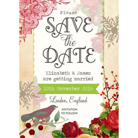 Winter Berries Wedding Save the Date from £085 each