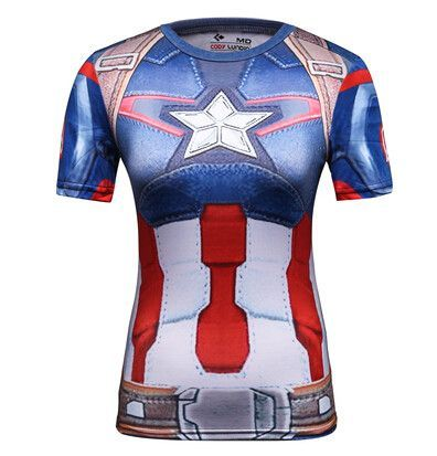 9d46a3d594f Women Superhero Superman Captain America T Shirt The New Adventures DC  Shirts Female Armor Shield Compression Fitness T-Shirts