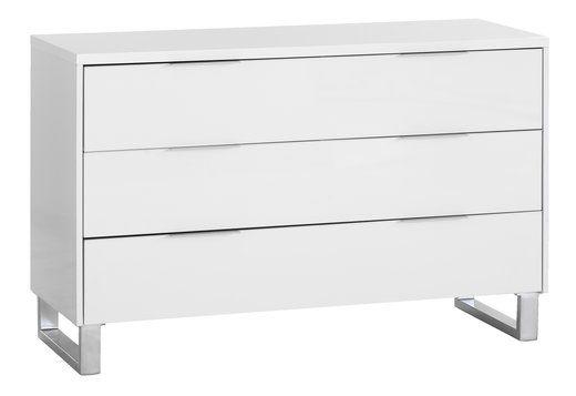 Modernistisk Kommode STEGE 3 skuffer bred højglans | JYSK | Lille værelse | 3 RP67