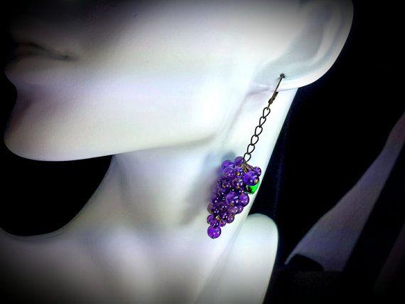 Long Purple Grape Cluster Dangle Earrings by TitanicTemptations
