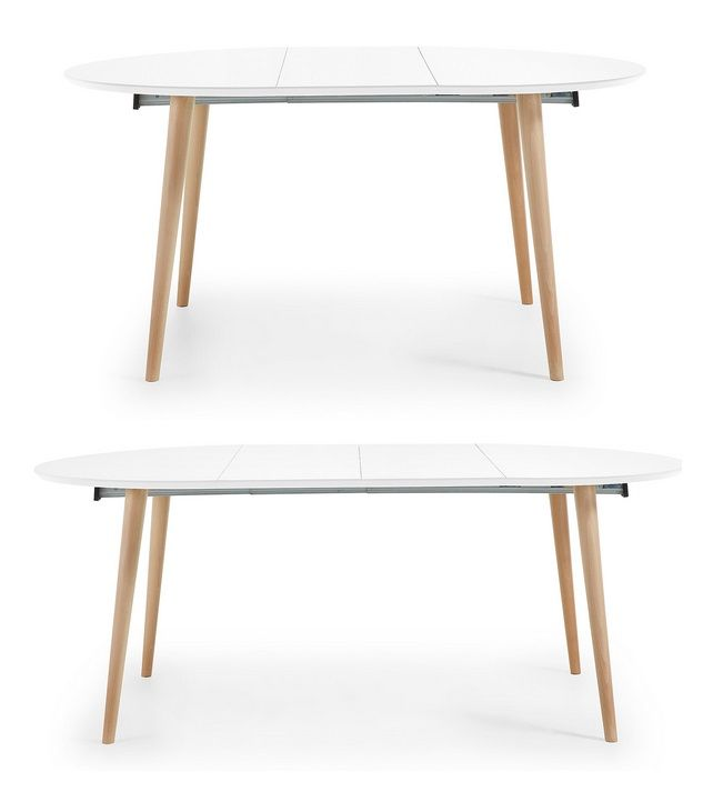 Mesa nordica redonda extensible blanco mate haya 120 for Mesa comedor extensible 120