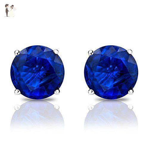 1 2 Carat Sapphire Earrings Studs Blue Sapphire Handmade Sapphire Stud Earrings 14 K White Sapphire Earrings Studs Sapphire Earrings Studs Blue Sapphire Studs