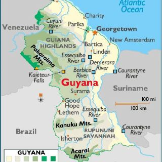 Map Guyana British colony north eastern south America | Geography ...