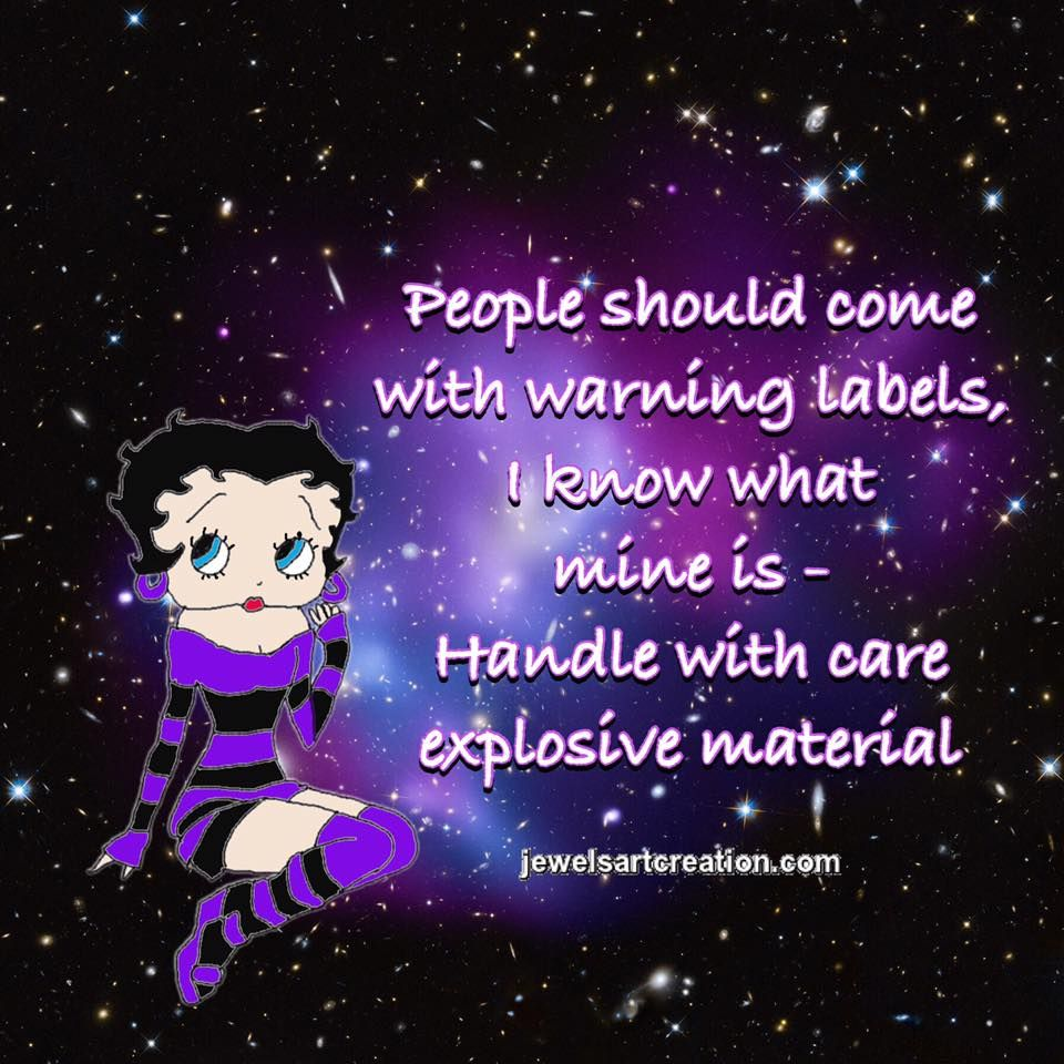 Warning Label Black Betty Boop Betty Boop Quotes Betty Boop
