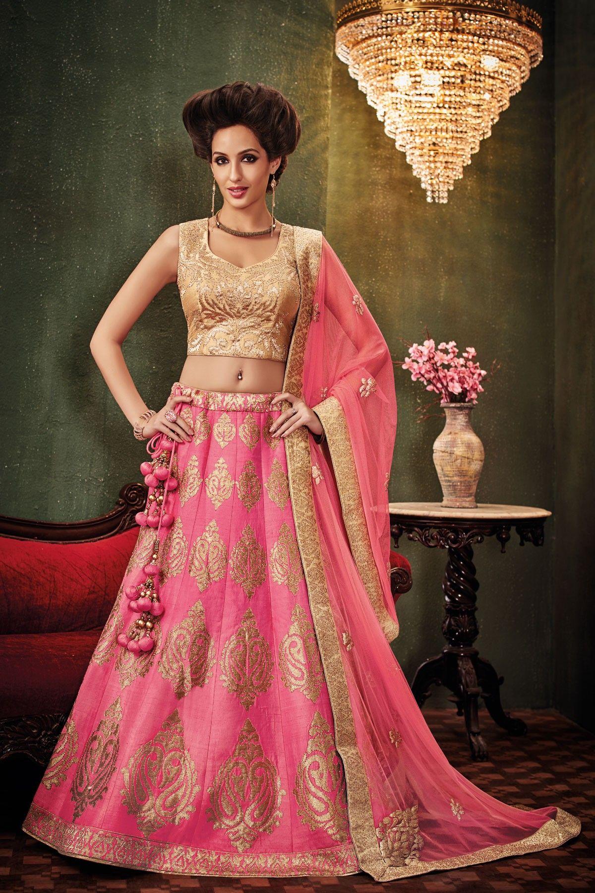 Raw silk wedding dress  Beige raw silk embroidered beauteous lehenaga with leaf necked