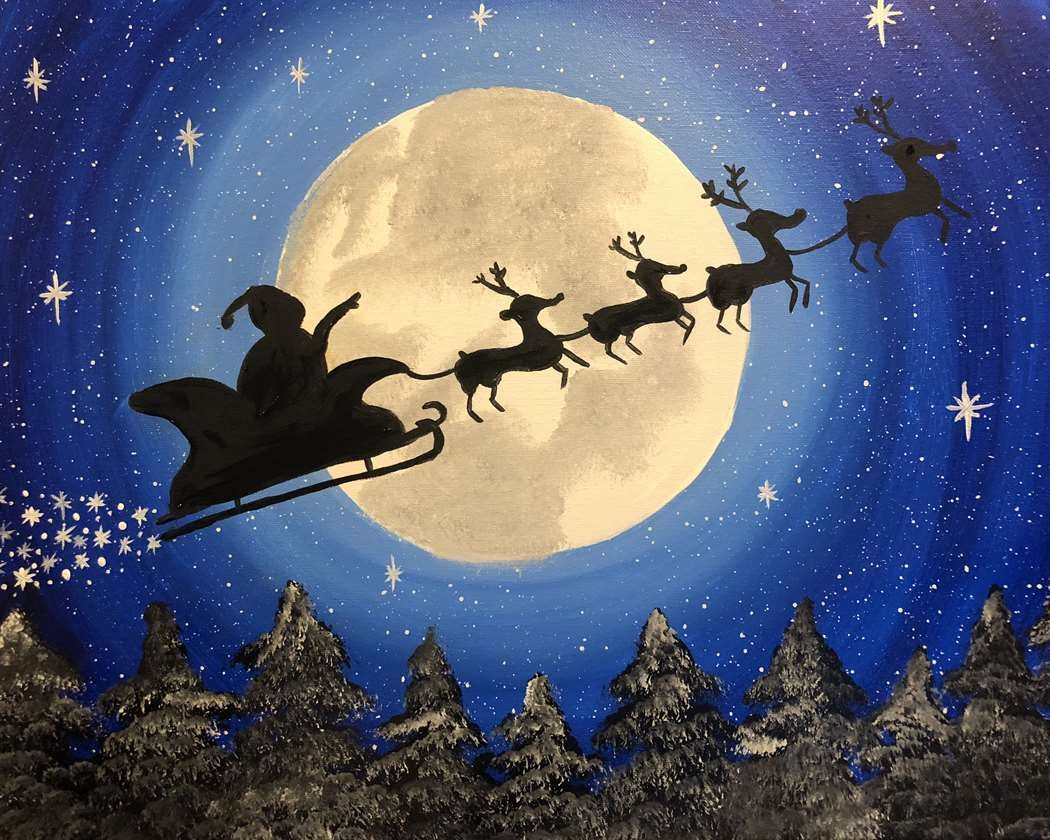 Santa and reindeer flying across the sky to deliver