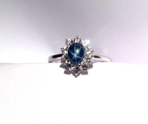 Thai Blue Star Sapphire Ring White Topaz Size 9 tcw 1 75 Cts | eBay