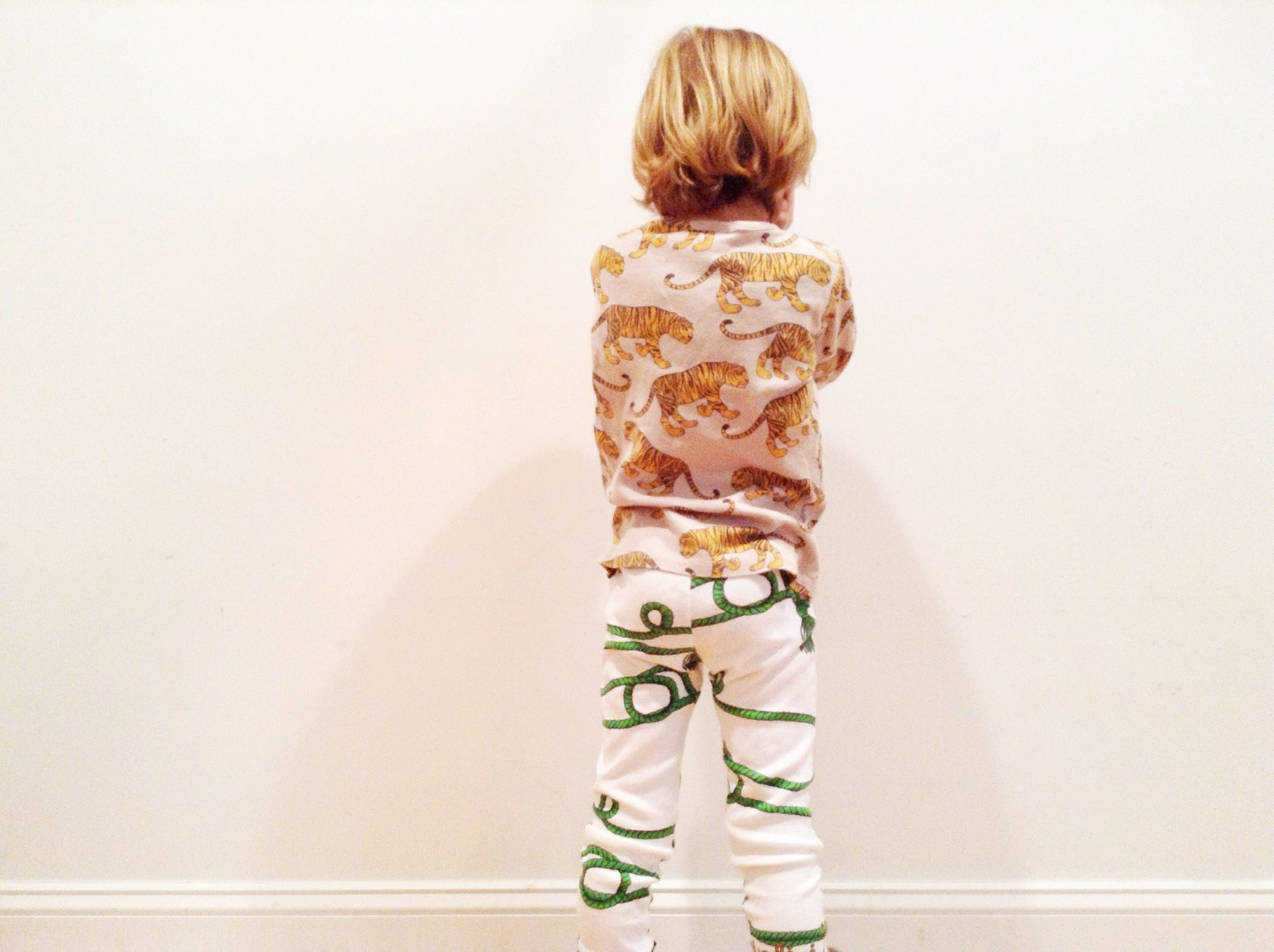 Tiger shirt + Rope leggings. Tips for Mixing Prints for Little Boys - Brittany Ritchie, Style Blogger for Babiekins Magazine