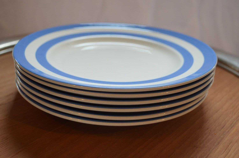TG Green Cornishware Judith Onions lunch plates 6 plates 8 inch blue and & TG Green Cornishware Judith Onions lunch plates 6 plates 8 inch ...