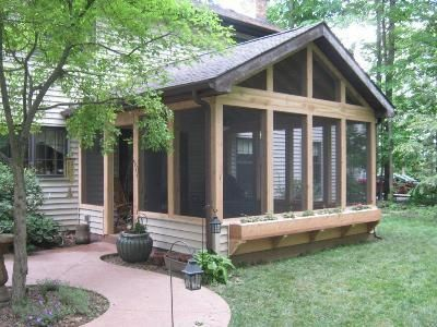 Screened in porch with fireplace rustic screened porch for Screened in porch fireplace ideas