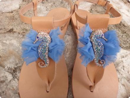 Blue Crystal Seahorse Handmade Leather Sandals