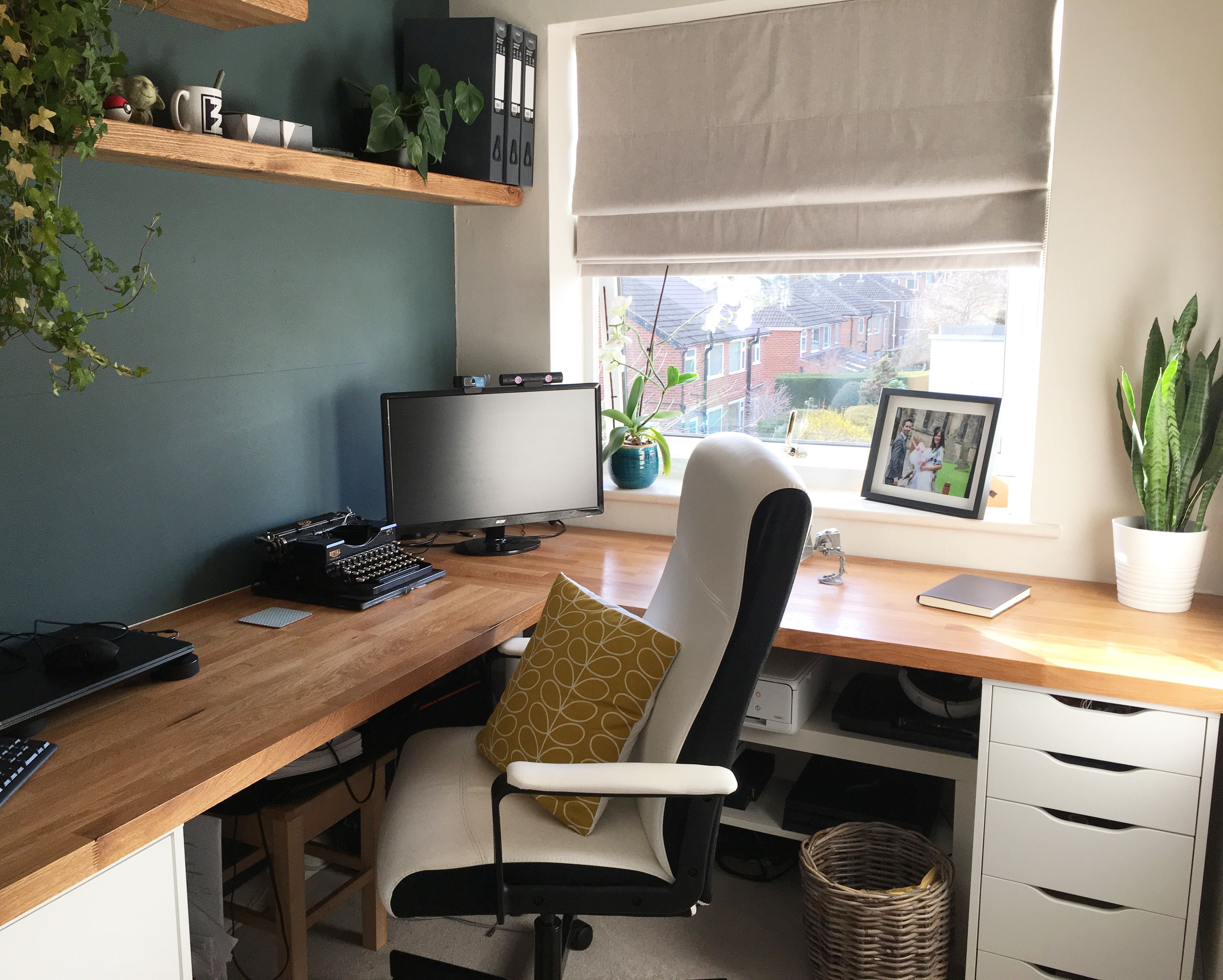 Our New Home Office Oak Worktop Ikea Alex Drawers And Farrow Ball Inchyra Feature Wall Modern Home Offices Home Office Home Office Colors