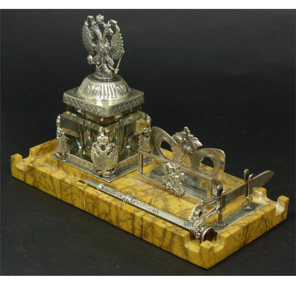 3 Piece Russian Silver Marble Inkwell Desk Set Russian Silver Antique Inkwells Inkwell