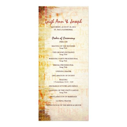 Elegant 1 Corinthians 13 Wedding Program Custom Announcements