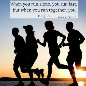 """Today in R4L: RUNNING THE RACE. As an African proverb so aptly says, """"When you run alone, you run fast. But when you run together, you run far."""" Check it out today, here: http://www.reflectionsforliving.com/reflection/1035/running-the-race/. And have a blessed weekend of """"running"""" together with others! (May 8, 2015)"""