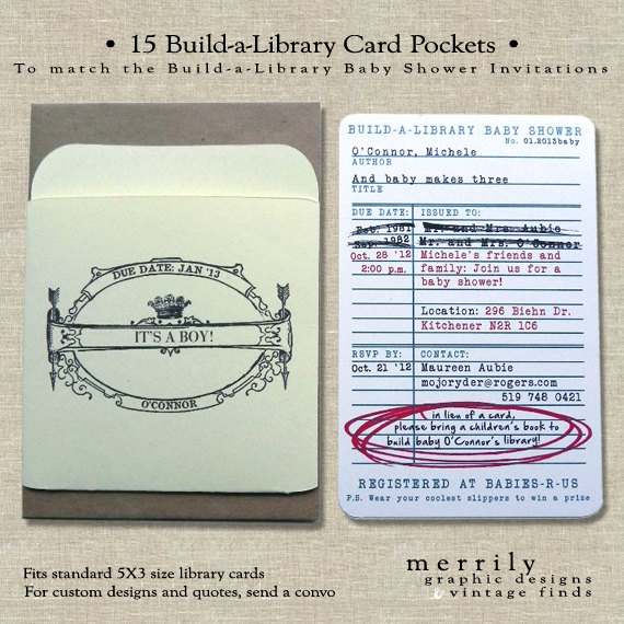 Add on pockets for library card invitations for build a library build a library story book theme baby shower invitation pockets filmwisefo
