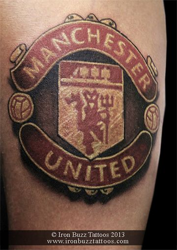 Manchester United Manu Logo On Arm Color Tattoo Best Design For Men And Women By Artist Eric Dsouza At Iron Buzz Tattoos An Tattoos Color Tattoo Tattoo Designs