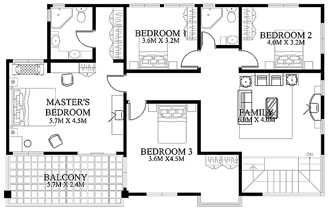 modern house design 2012002 second floor - Simple Modern House Floor Plans