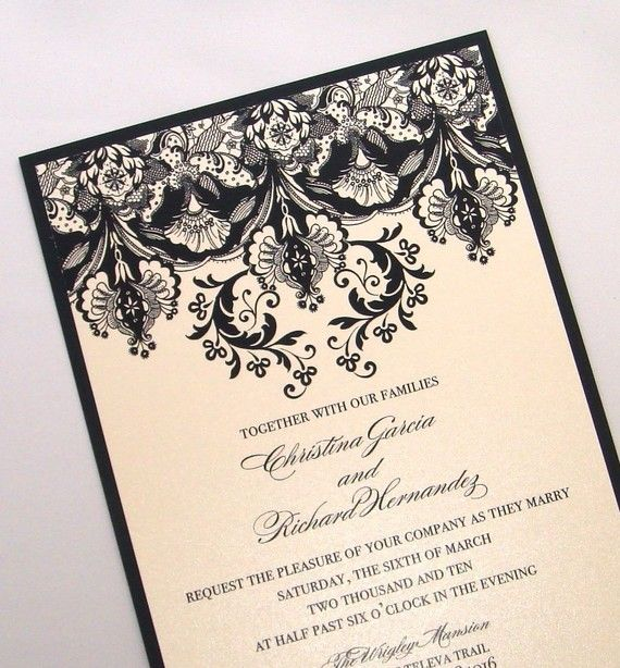 The Christina Floral Damask Wedding Invitation Set in Champagne metallic and Black - embellishedbytiffany.com