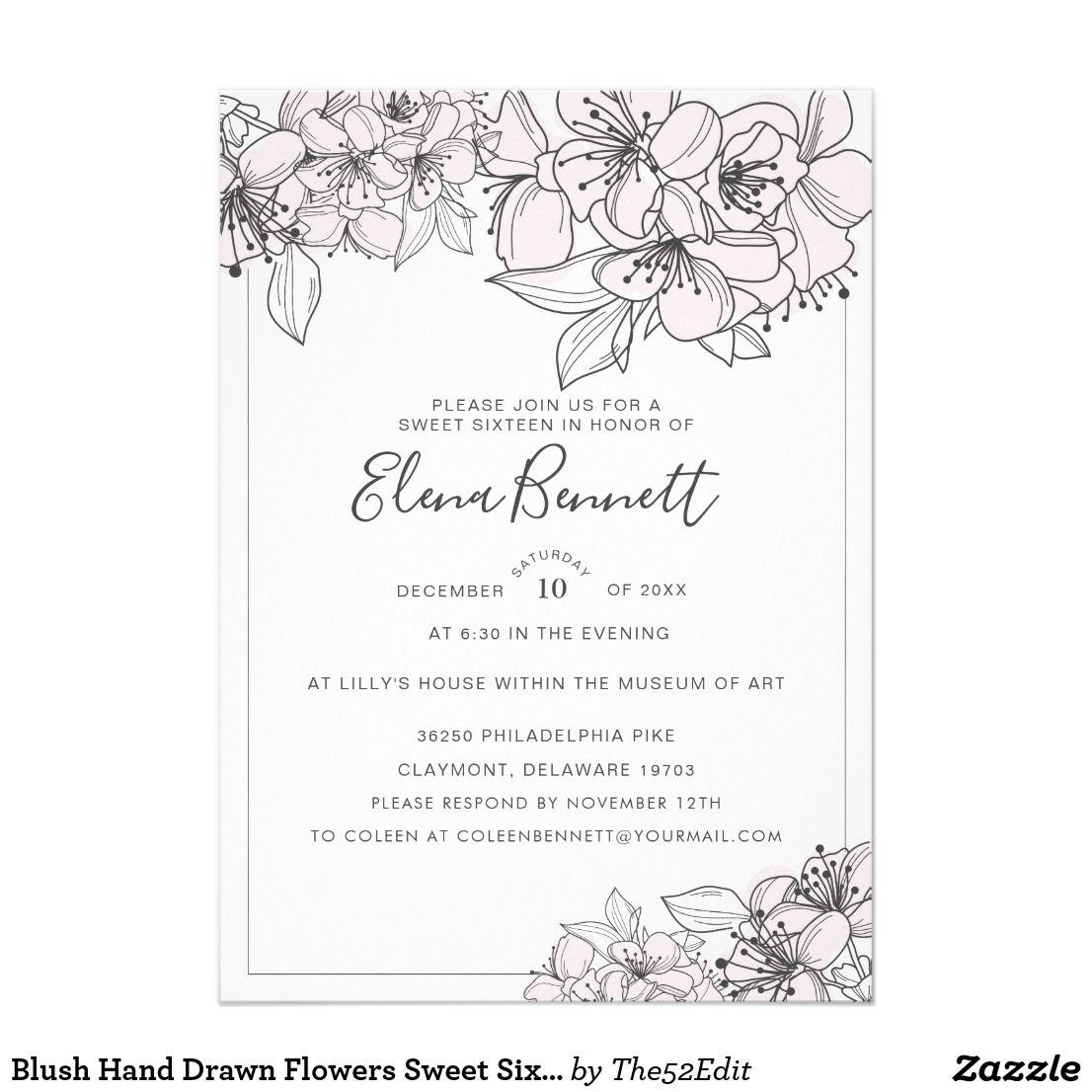 Blush Hand Drawn Flowers Sweet Six Invitation Zazzle