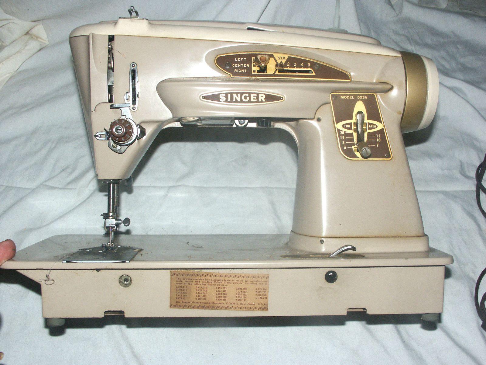 SINGER ROCKETEER 503A ZIG ZAG SEWING MACHINE POWER CORD FOOT PEDAL ESTATE NR   eBay $49.99
