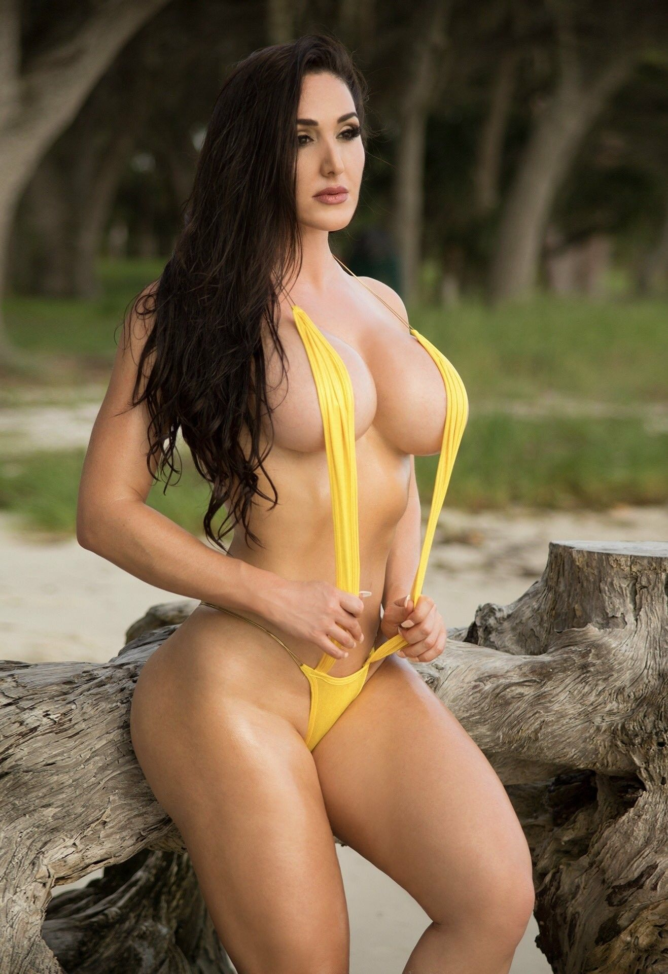 Big fake tits of gia macool busting out of micro bikini